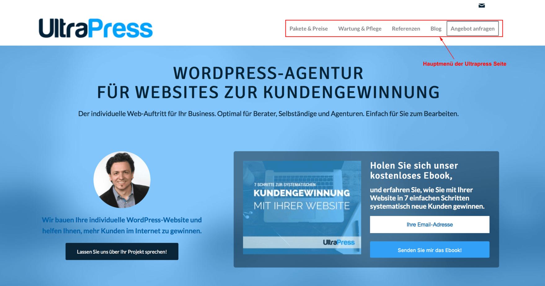 Wordpress-Menü erstellen bei UltraPress