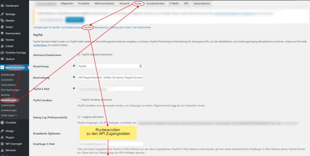 Paypal-API-Daten in Woocommerce eintragen