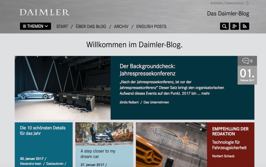 WordPress Beispiel Daimler-Blog