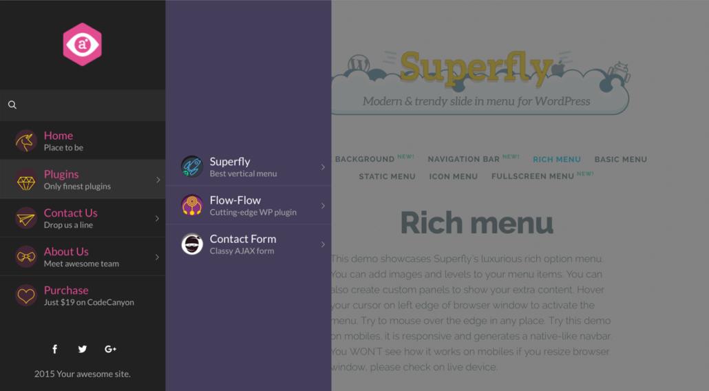 superfly menü plugin beispiel 1