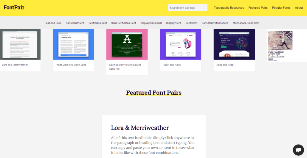 Blog Design Inspiration bei fontpair
