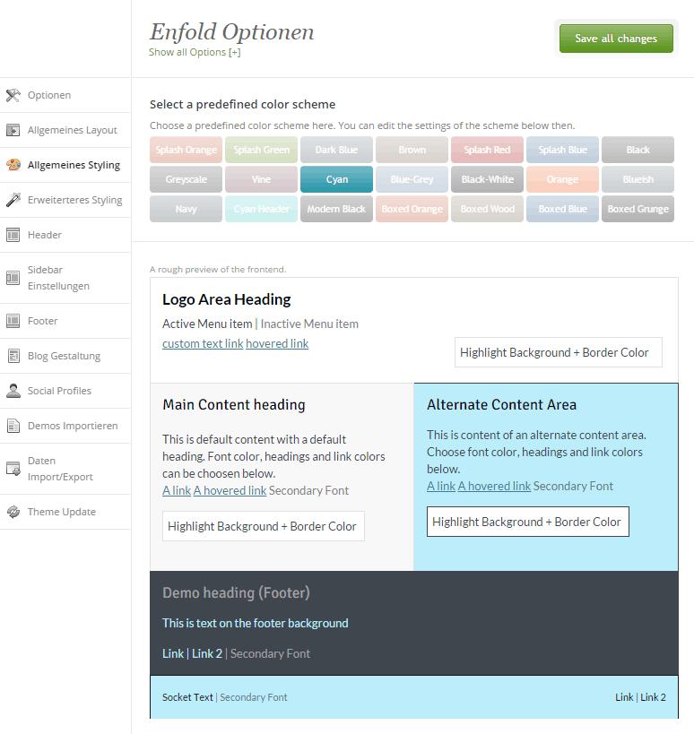 website erstellen mit Theme
