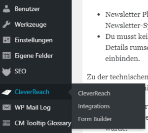 CleverReach-Plugin im Backend-Menü