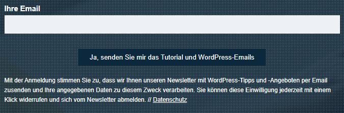 anmeldeformular auf website