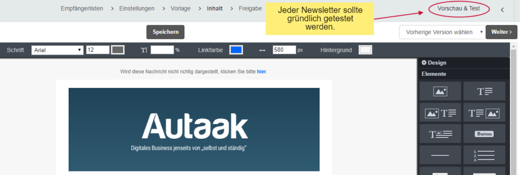 newsletter testen bei cleverreach