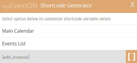 EventOn Shortcode Generator