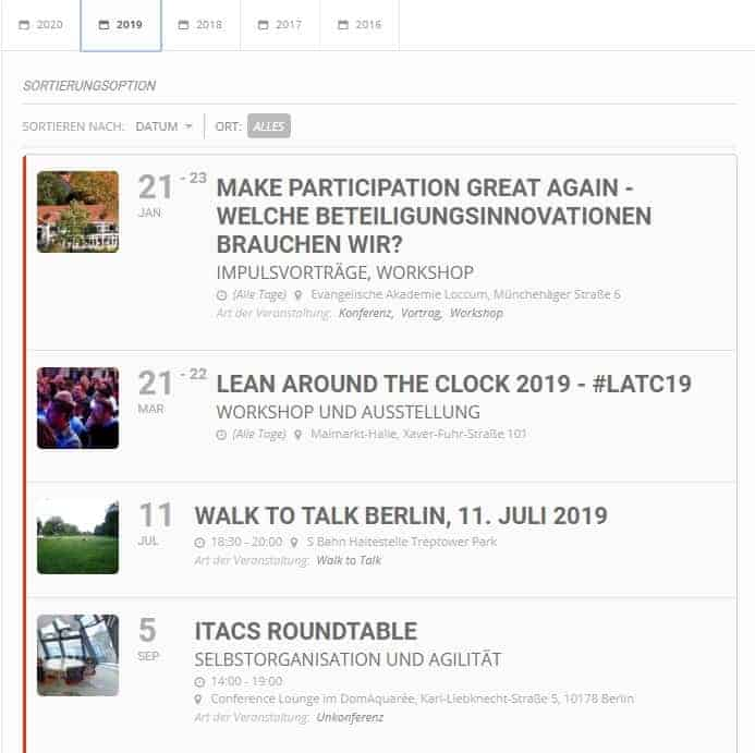 WordPress Kalender Beispiel Unternehmensdemokraten
