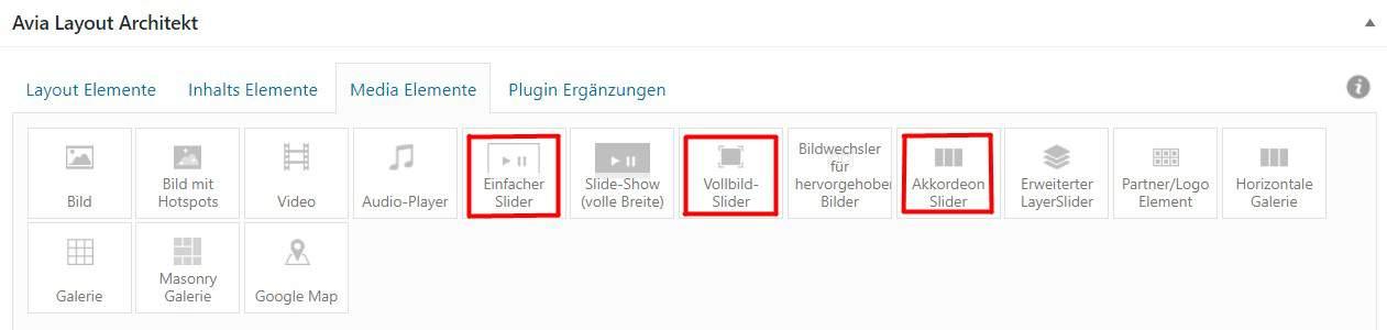 WordPress Theme Slider Optionen
