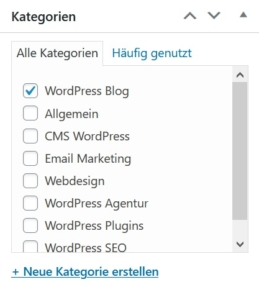 Kategorien in WordPress festlegen